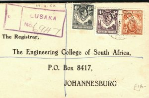 NORTHERN RHODESIA KGVI Cover Lusaka Registered South Africa College PB256