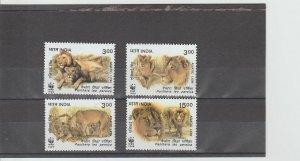 India  Scott#  1765-1768  MNH  (1999 Asiatic Lion)