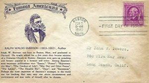861 3c RALPH WALDO EMERSON - Famous Americans - Crosby cachet A
