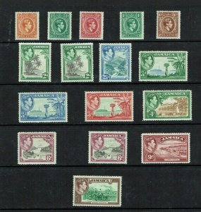 Jamaica: 1938 King George VI definitive short set to 1/- + perfs and shades, MLH