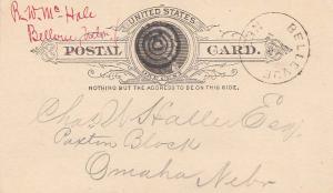 United States Nebraska Bellevue 1889 target  Postal Card.