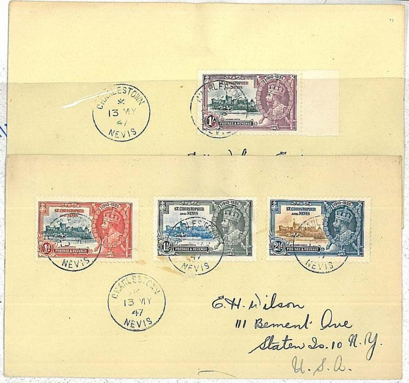 ST CHRISTOPHER -  POSTAL HISTORY  2 COVERS  - 1947  King George V Silver Jubilee