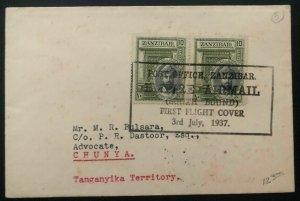 1937 Zanzibar First Flight Cover Airmail FFC To Chunya Tanganyika British KUT
