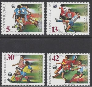 Bulgaria #3527-31 MHN set c/w ss, World Soccer Championship Italy, issued 1990
