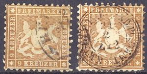 Wuerttemberg  #39 and #39a  used  VF