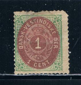 Danish West Indies 5 MHH Damage Numeral (D0024)