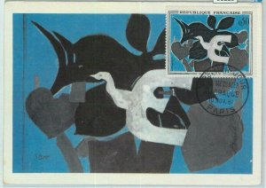 90228 - FRANCE - Postal History - MAXIMUM CARD -  ART  birds DOVE G. Braque 1961