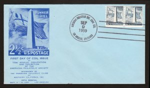 SCOTT #1056 BUNKER HILL FDC LOS ANGELES CA UNLISTED CACHET UNADDRESSED