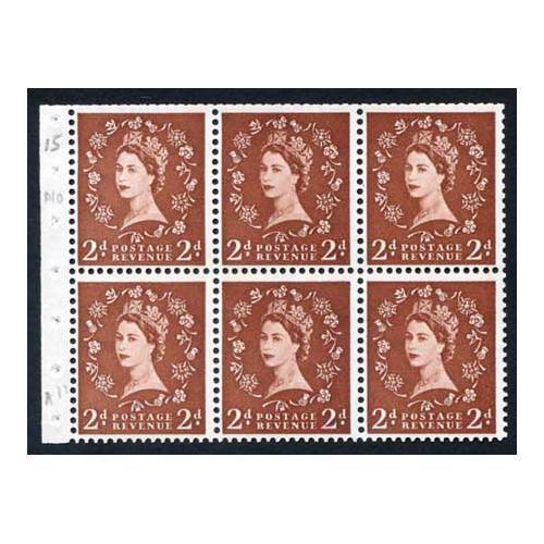 SB78 2d Light Red Brown Booklet Pane Wmk Edward Upright Average Perfs U/M