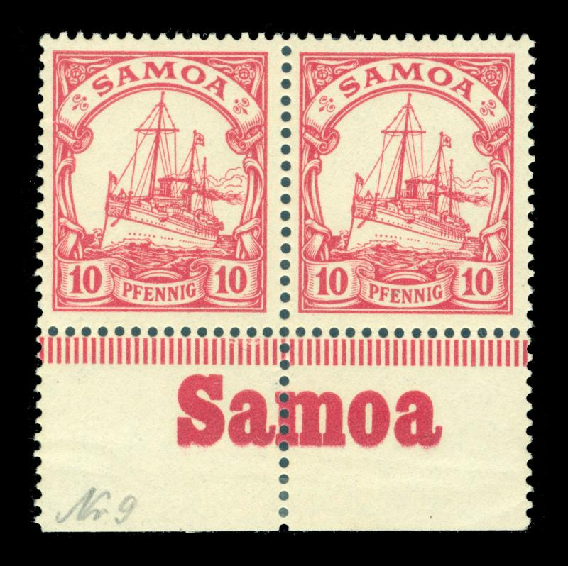 German Colonies - SAMOA 1900 Kaiser's YACHT 10pf  Sc# 59 MNH pair w/bottom INSC