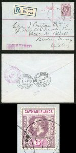 Cayman Is KGV 1913 6d over paying 1oz None Empire rate to USA