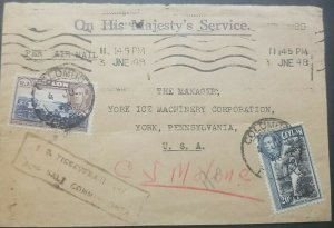 O) 1948 CEYLON,ON HIS MAJESTY´S SERVICE, SILVER JUBILEE ISSUE,  KING GEORGE VI,