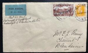 1931 Invercargil New Zealand First Flight Airmail Cover FFC To Blenheim Sc#C3