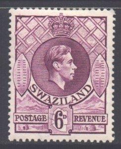 Swaziland Scott 33 - SG34b, 1938 George VI 6d Perf 13.1/2 x 14 MH*