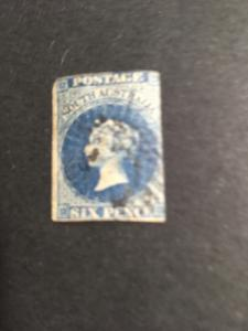 South Australia Sc. #3 used 2015 Cat. $200. 1855 6d Dp Blue London Ptg.Tiny Thin