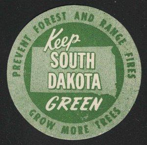 Keep South Dakota Green Vintage Poster Stamp - Prevent Forest and Range Fires