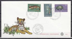 Suriname, Scott cat. 362-364. Alligator & Fauna issue. First day cover.