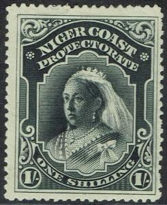 NIGER COAST 1894 QV 1/- NO WMK PERF 14.5-15