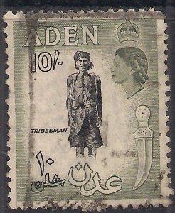 Aden 1953 - 63 QE2 10/-d Black & Bronze Green Used SG 70 ( K55 )