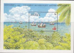 Dominica, Sc # 1037, MNH, 1987, Columbus 2nd Arrival