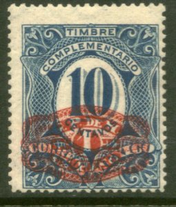 MEXICO 602, $1P ON 10¢ BARRIL SURCHARGE. UNUSED, H OG. VF.