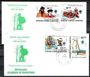 Mauritania, Scott cat. 495-496.  75th Scout Anniversary on 2 First day covers.