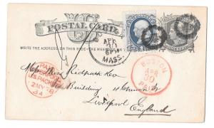 1878 Boston to England Uprated UX5 Fancy Cancel Red Liverpool US Packet PAID