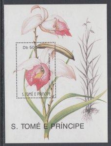 Sao Tome and Principe 1026 Orchid Souvenir Sheet MNH VF