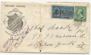 US Scott #E2 Special Delivery on ADV Cover Boston & NY Railroad Cancel 1889