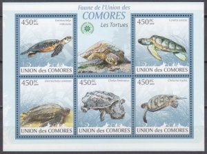 2009 Comoro Islands 2340-44KL Turtles 10,00 €