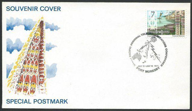 PAPUA NEW GUINEA 1977 Cover, Telecom Conference commem pmk.................51396
