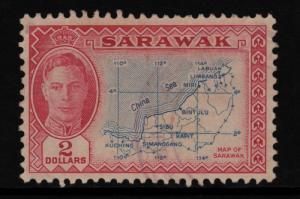 Sarawak 1950 Sc#193 Sir Charles Brooke $2 Map of Sarawak High CV F-VF Used