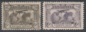 AUSTRALIA 1931 AIRMAIL 6D BOTH COLOURS USED