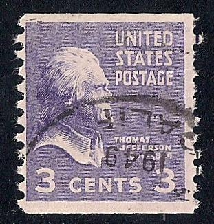 842 3 Cent SUPER CANCEL Thomas Jefferson Coil Stamp Used F