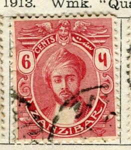 ZANZIBAR;  1913 early Sultan issue fine used 6a. value
