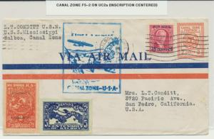 CANAL ZONE 1929 SCARCE 1st FLIGHT, F5-2 ON UC2a ENVLEOPE+ PANAMA LINBURGH STAMP
