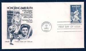UNITED STATES FDC 20¢ Babe Ruth 1983 Artmaster