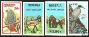 1990 Nigeria 561-64 imperf. / Fauna rare