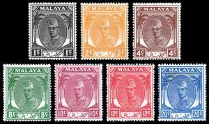 Malaya - Kelantan Scott 50//68 (1951-55) Mint H VF, CV $14.50