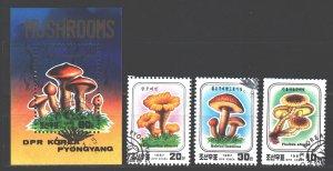 North Korea. 1987. 2798-2800, bl223. Mushrooms. USED.