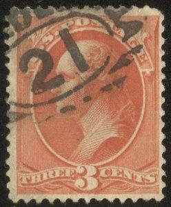 US 1887  Sc 214 3c vermillion Washington Used F-VF, Phily cancel, Scv $65