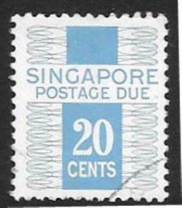SINGAPORE SGD14 1977-78 20 c NEW BLUE POSTAGE DUE FINE USED