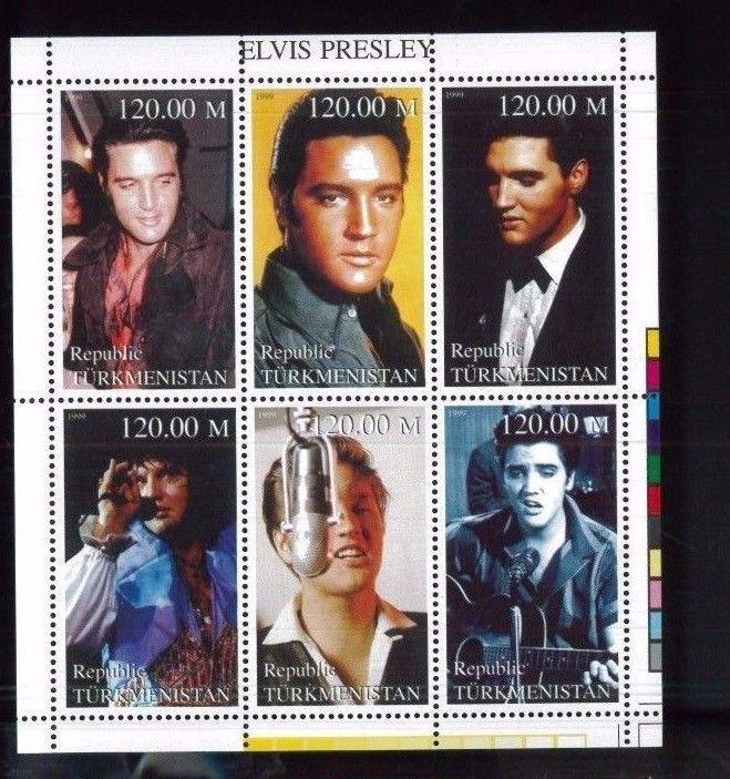 Turkmenistan Commemorative Souvenir Stamp Sheet - Rock & Roll King Elvis Presley