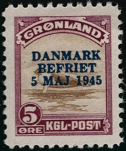 Greenland Iconic Overprint SC#20 Mint OG  VF...chance to buy individually!!
