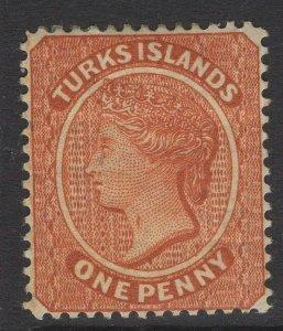 TURKS ISLANDS SG55b 1883 1d ORANGE-BROWN THROAT FLAW MTD MINT