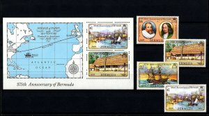 BERMUDA - 1984 - SAILING SHIP - MAP - 375th ANNIVERSARY - MINT SET + S/SHEET!