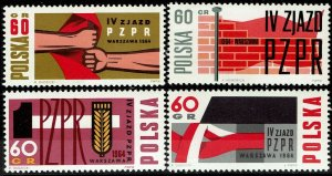 Poland MNH 1240-3 United Workers Party 1964