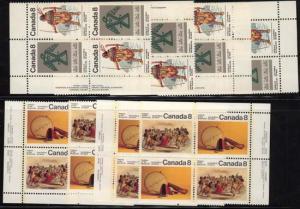 Canada USC #574-577 Mint 1975 Sub Arctic Indians - MS of Imp. Blocks NH
