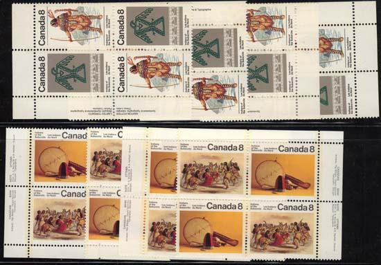 Canada USC #574-577 Mint 1975 Sub Arctic Indians - MS of Imp. Blocks NH