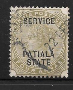 India Patiala O12: 4a Victoria, used, F
